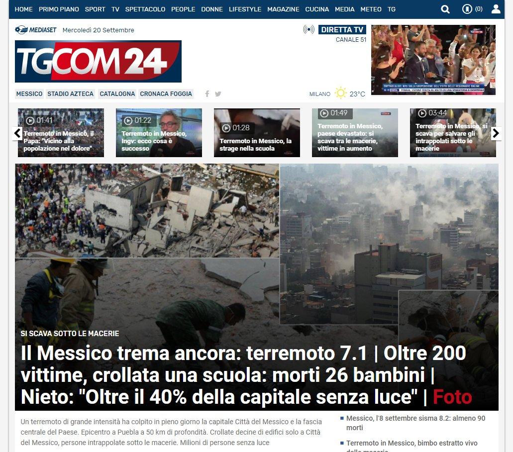 🔴Aggiornamenti in tempo reale sul #terremoto che ha colpito il #Messico  https://t.co/8dV6EBICIH  #20settembre