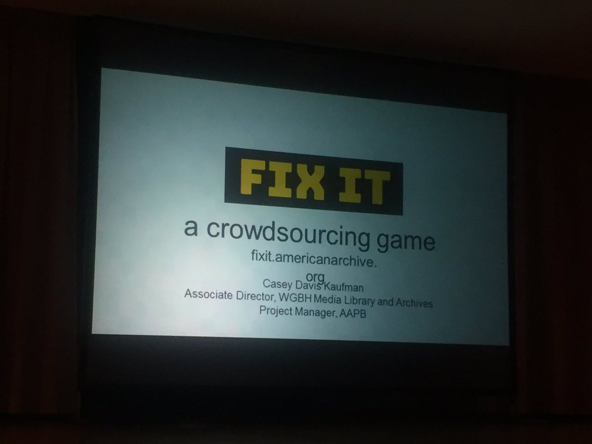 http:// Fixit.americanarchive.org  &nbsp;   - really cool way to get your community improve your transcripts. CC @amarchivepub #crowdsourcing #iasa_web<br>http://pic.twitter.com/VvByqmBPu2