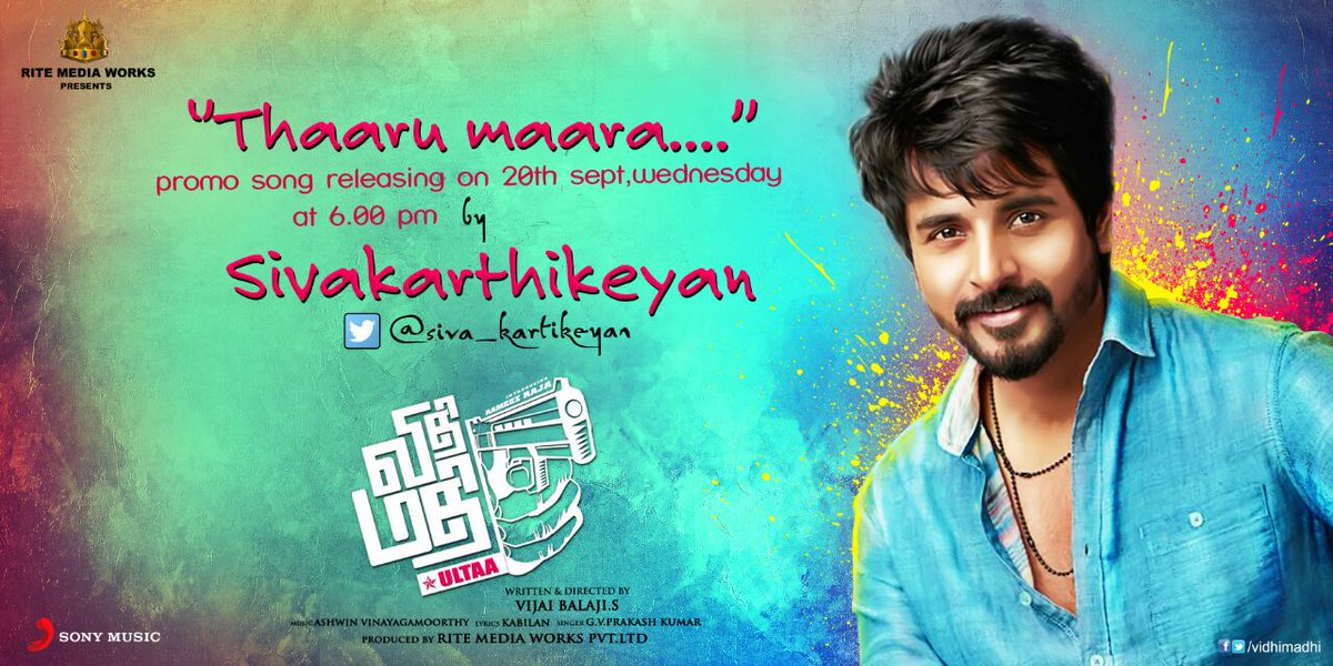 A few more hours to go before #ThaaruMaaraPromoSong from #VidhiMadhi releases in @gvprakash's voice.