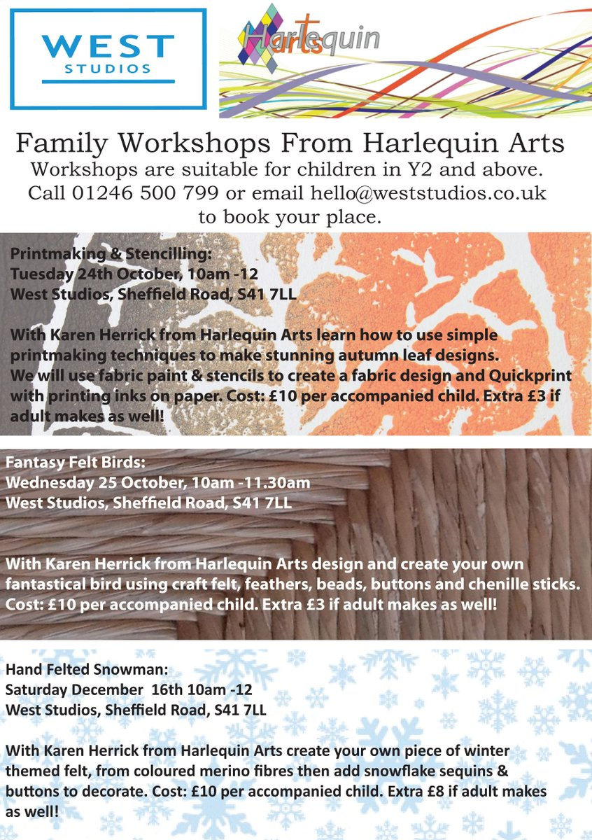 Upcoming family workshops: - #Printmaking and #Stencilling -Fantasy #Felt Birds -Hand #Felted Snowmen Email hello@weststudios.co.uk to book.<br>http://pic.twitter.com/Edg9ILM1dN