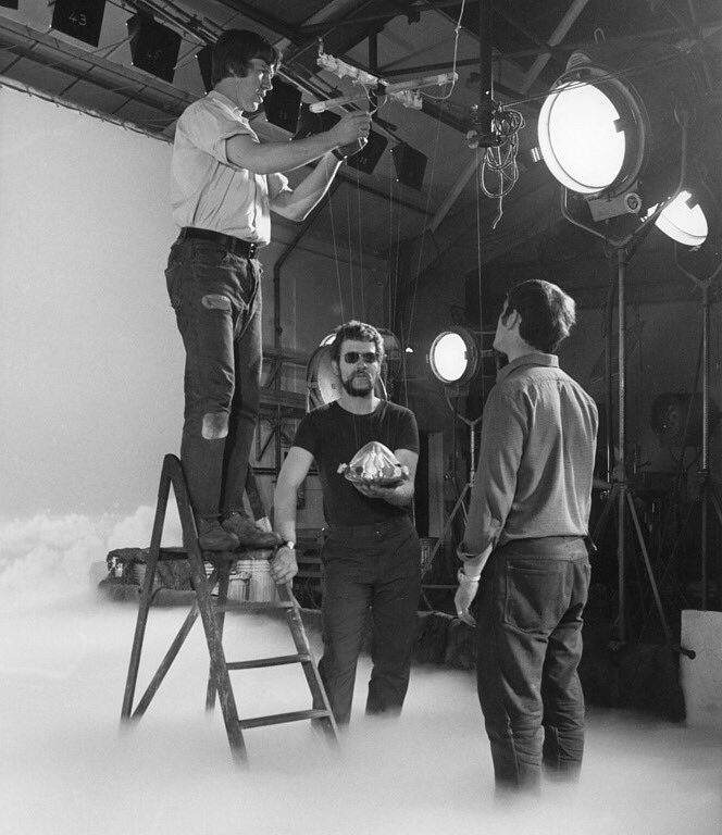 Making saucers fly on the set of UFO (1970) #scifi <br>http://pic.twitter.com/PWS9dYQBMw