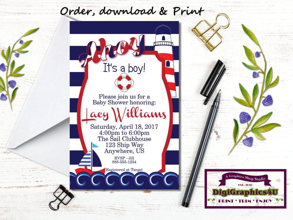 Ship Ahoy It&#39;s a Boy Nautical Baby Shower Invitation - Printable Persona…  http:// etsy.me/2qJMxTh  &nbsp;   #cigar #Invitation <br>http://pic.twitter.com/RtNFI5mp1G