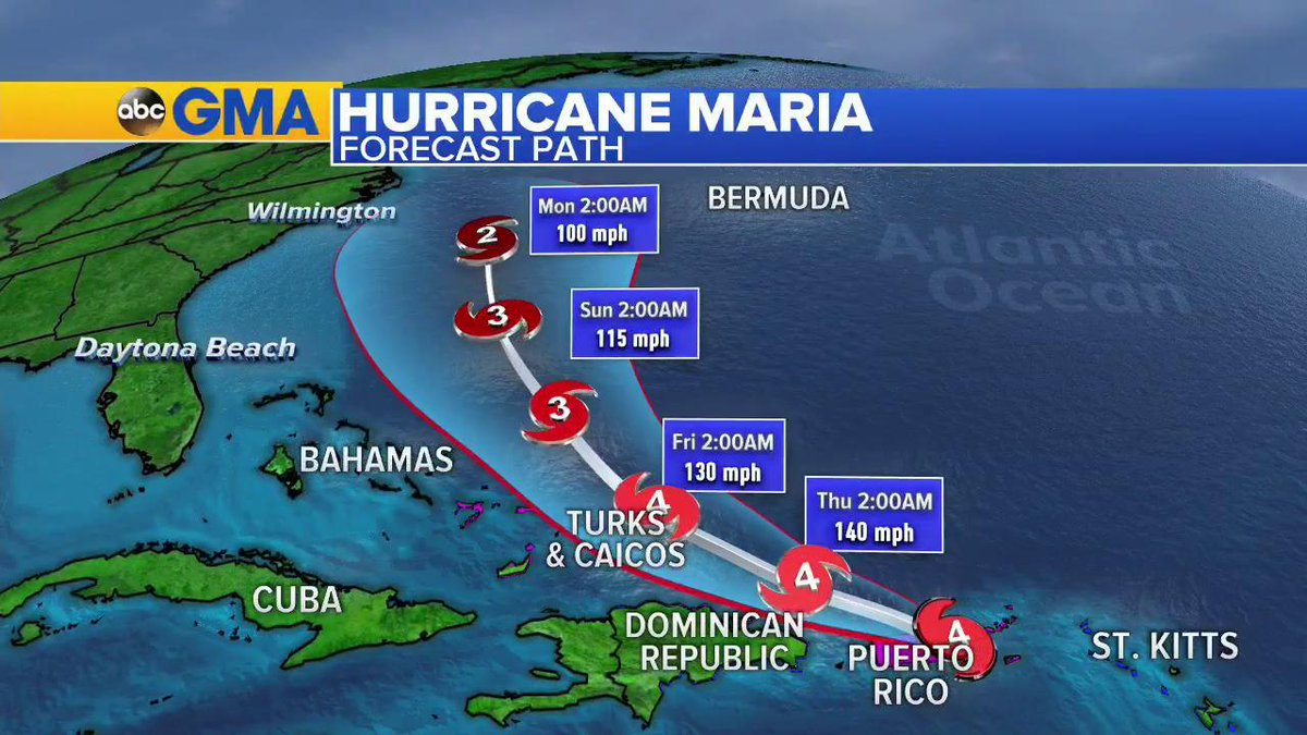 NOW on @GMA: The forecast path for Hurricane #Maria from this morning through early morning on Monday.