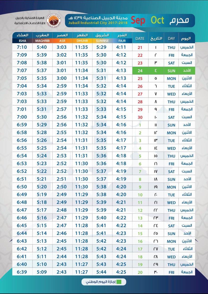 مواقيت الصلاة لشهر 1 محرّم لعام 1439 هـ في محافظة الجبيل و الجبيل_الصناعية . عبر المتميز دائمًا @al_mofadda . https://t.co/0THGTil7hn