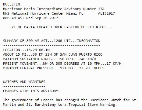 LATEST: Eye of Hurricane Maria located of eastern Puerto Rico with 150 mph winds, according to new NWS update