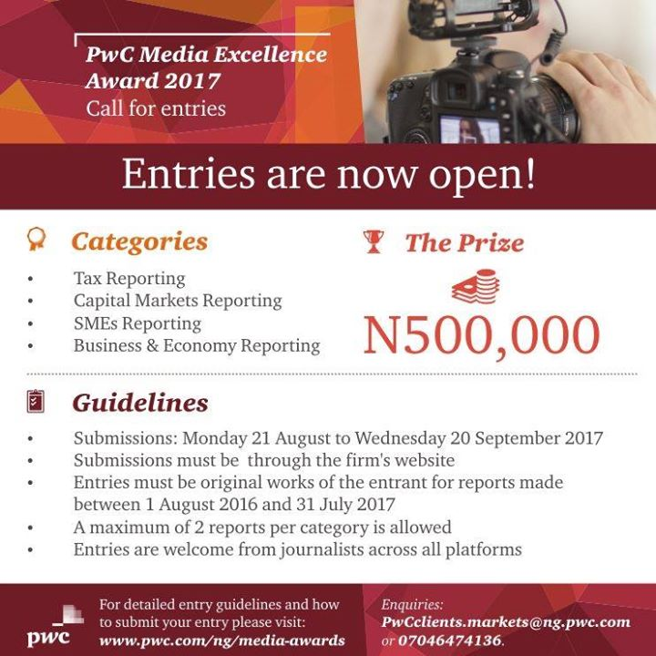 Entries for the 2nd edition of PwC's Media Excellence Awards closes today. For guidelines click:  http:// ow.ly/EVbg30fh2od  &nbsp;       #Deadline <br>http://pic.twitter.com/AUw2t26xRm