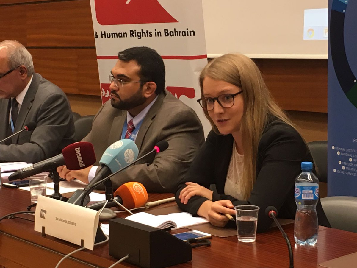 .@brandt_sara: #Bahraini gov&#39;t uses #terror, #cybercrime law to target and jail #civilsociety, #HRD activists, suppress #Freedex #HRC36<br>http://pic.twitter.com/achzeBDRnE