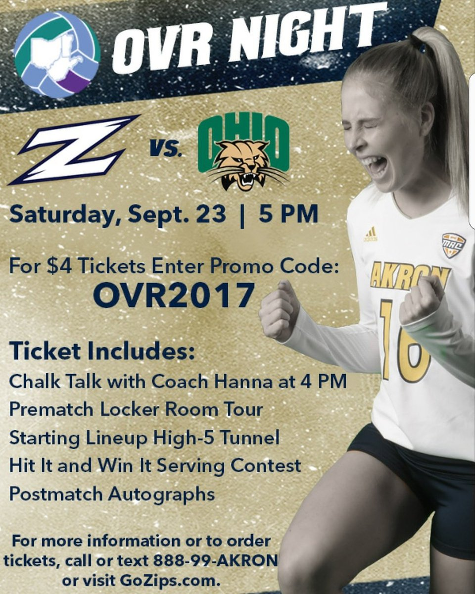 Don&#39;t forget! Our first #OVR Nights are this weekend! See you there! @ZipsVB @XavierVBALL #volleyball <br>http://pic.twitter.com/IXf0TNEvJo