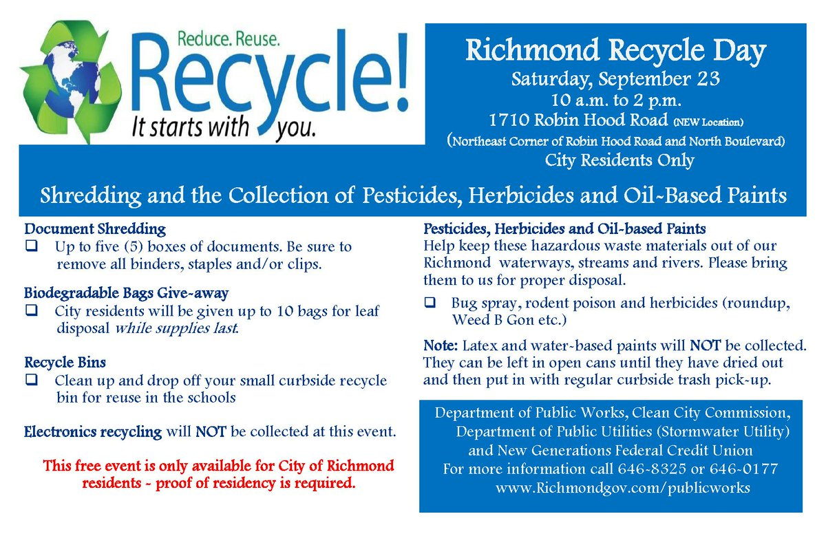 richmond va dpw on twitter location change for richmond recycle