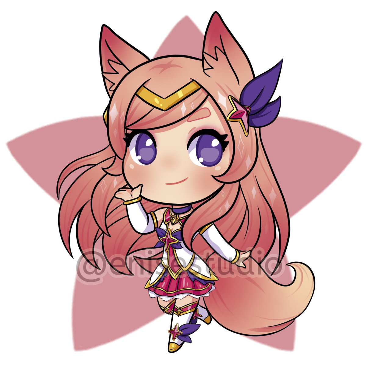 "K/DA Enise✨ on Twitter: ""🌟Chibi Star Guardian Ahri🌟 🔁❤ #Chibi #Cute  #DigitalArt #LeagueOfLegends #ArtofLegends #Ahri #Starguardian  #StarguardianAhri ..."