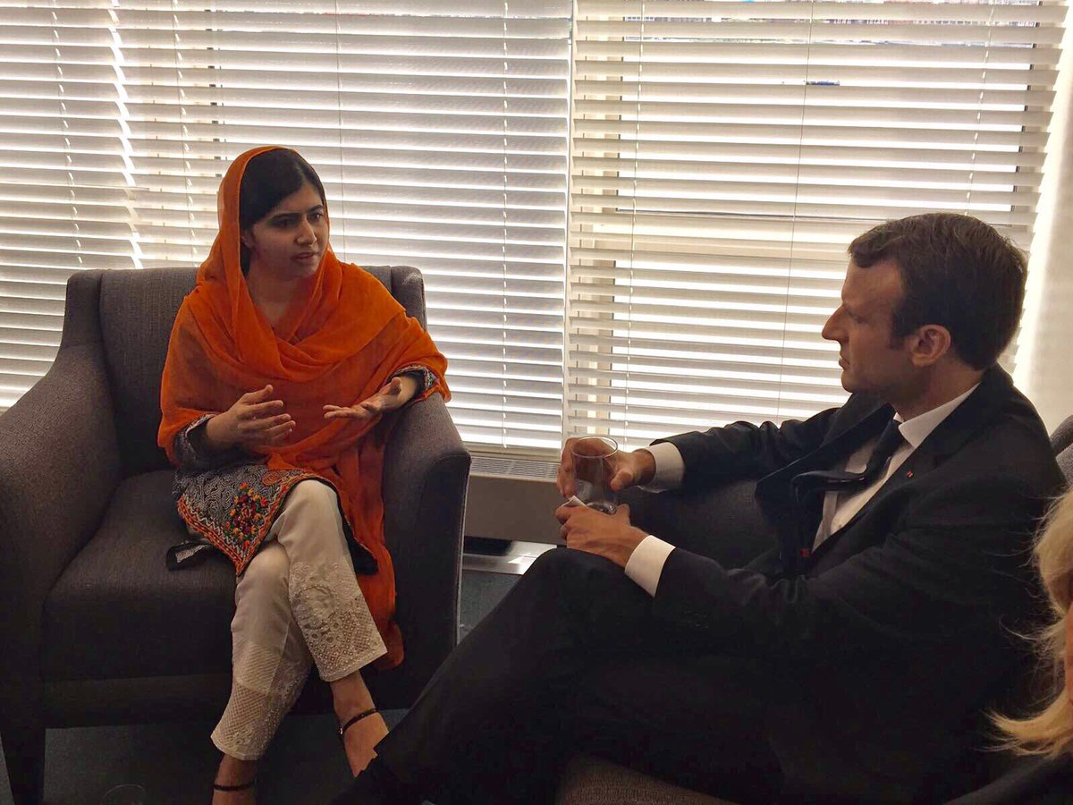 President @EmmanuelMacron, Madame Macron and I had a great discussion about girls&#39; education &amp; how #France can help. We need his leadership! <br>http://pic.twitter.com/nujploaA9n