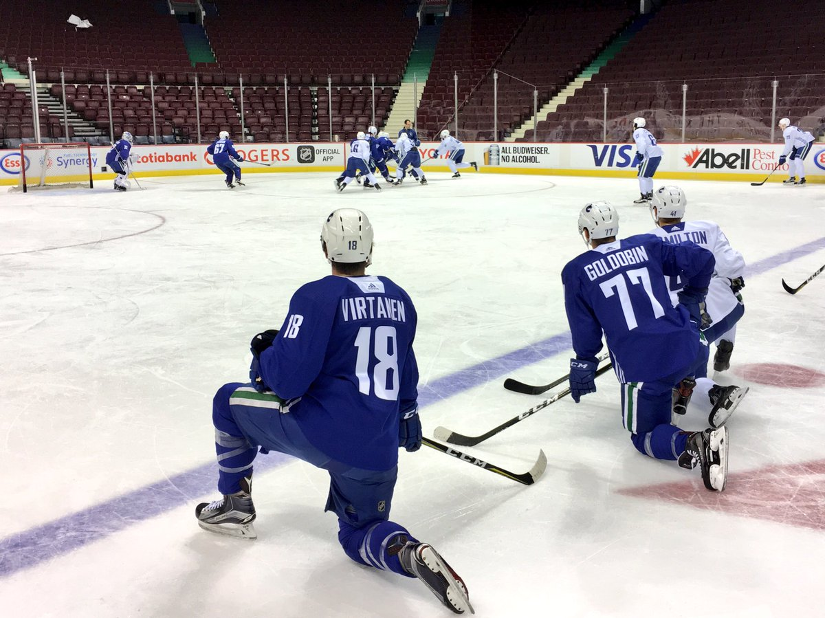 #Canucks playing in Calgary tonight on the ice @RogersArena. Close to...