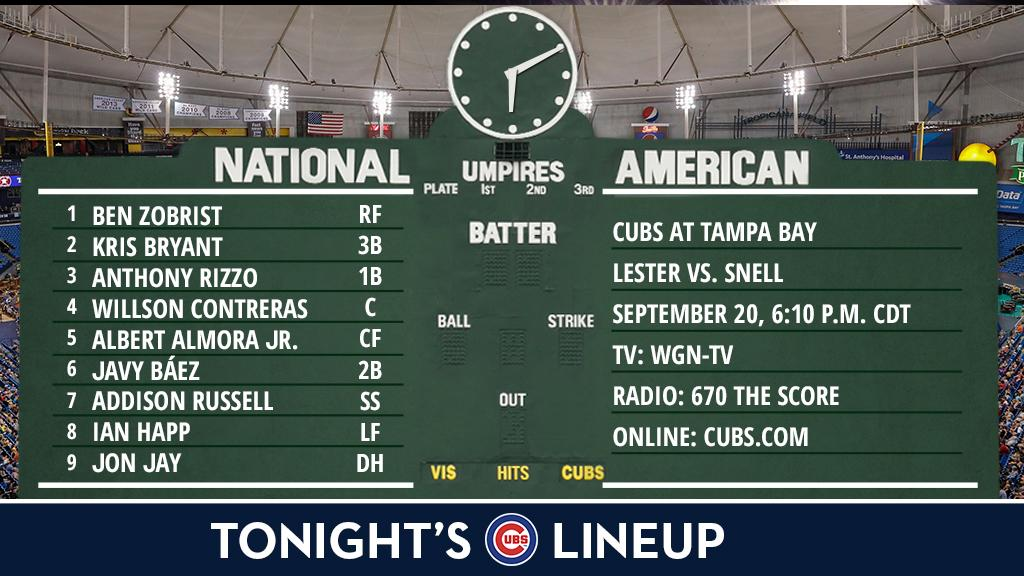 Here is tonight's #Cubs starting lineup.  Game preview: https://t.co/PCcmPu8JNm https://t.co/7tArvNaKyf