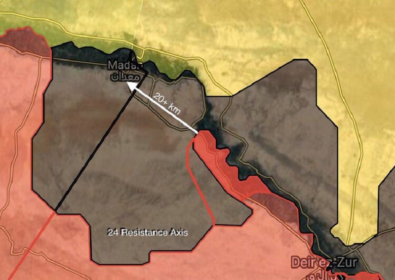 #Daesh defense collapsed in a area NW of #DeirEzzor,#Syrian army Liberates about 100KM &amp; are now 20KM away from #ISIS strong point #Maadan.<br>http://pic.twitter.com/LOFIntPxF2