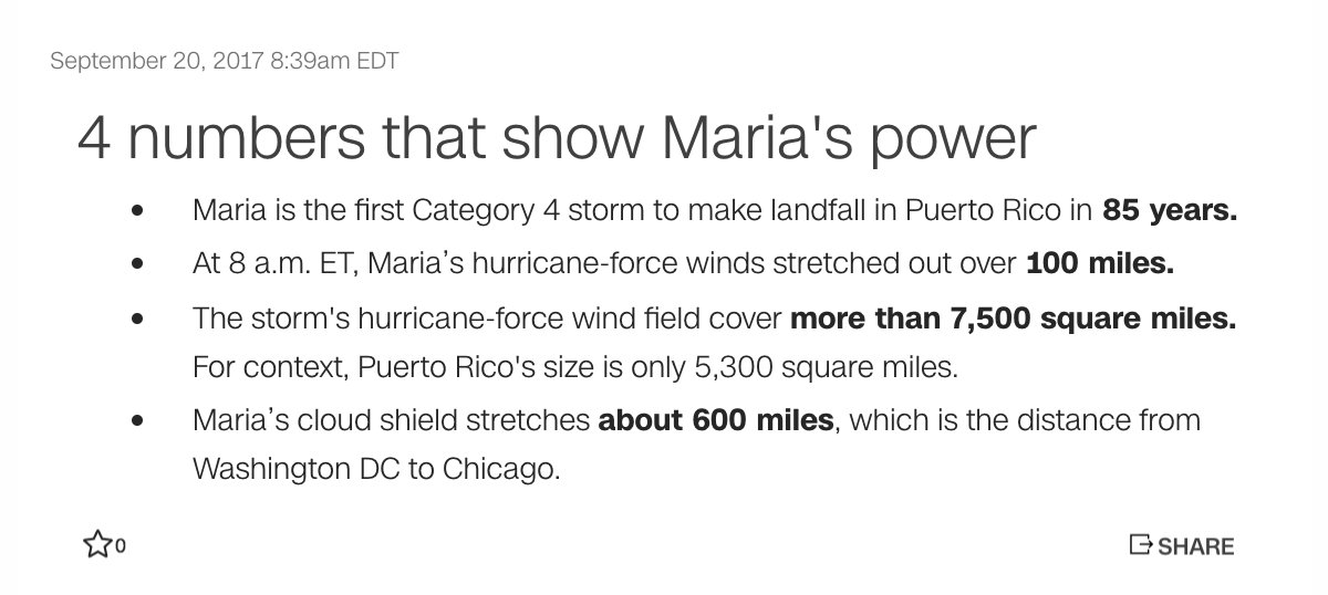 The four numbers that show the size and strength of Hurricane Maria. Follow for live updates: https://t.co/pGuJZSJ2Um
