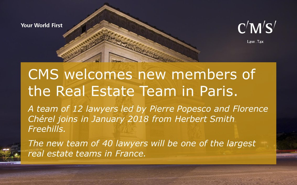 test Twitter Media - CMS welcomes the new members of the Real Estate Team in Paris. The new team will be one of the largest real estate teams in France. https://t.co/DwwG0iSCkR