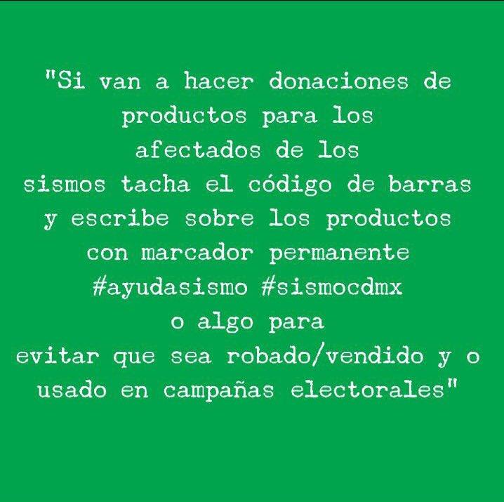 Ojo, mi gente, hagamos esto al hacer donaciones, para evitar mal uso. #FuerzaMéxico #SismoApoya @VivoEnCancun https://t.co/Gd7dZWgLeX