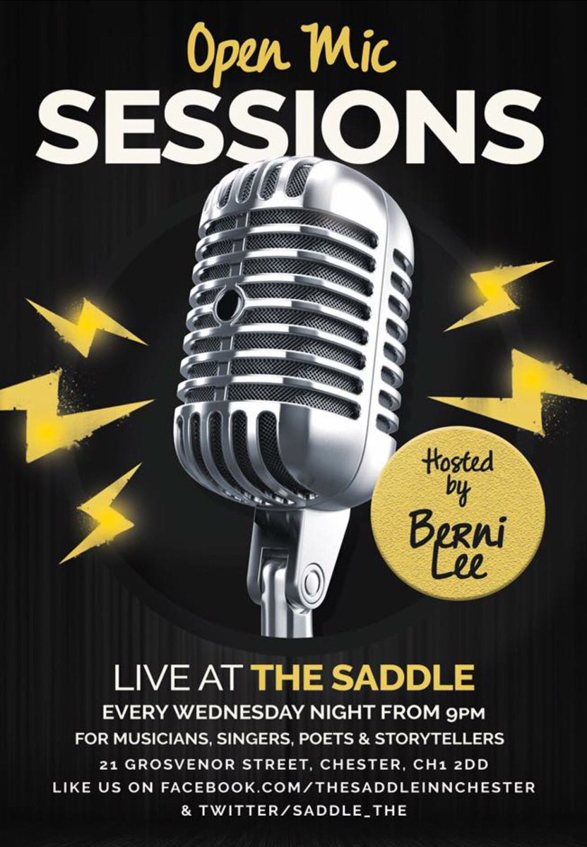 Open Mic Tonight from 9pm @Berni13 #openmic #talent #freedrink #drums #mapex #singer #magician #poet #storyteller #chester #thesaddle #gig<br>http://pic.twitter.com/UZhpfSPeSZ