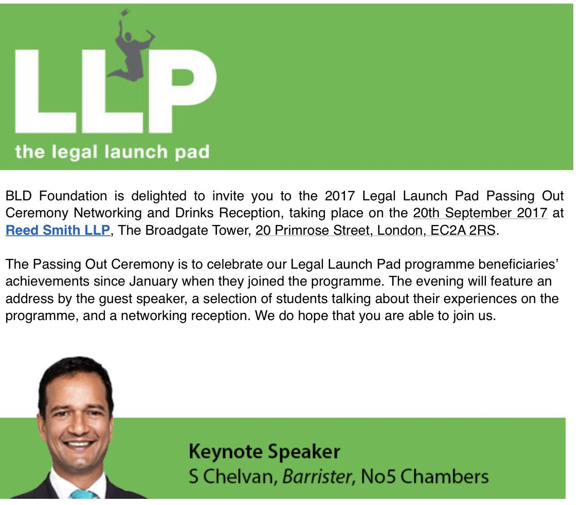 Really looking forward to speaking at the Passing Out ceremony for the @BLDFoundation &quot;Legal Launch Pad&quot; event at @reedsmithllp tonight #POC <br>http://pic.twitter.com/7CKQpCVaic