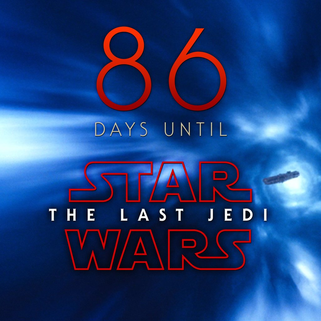 86 days until Star Wars: The Last Jedi #StarWars #LastJedi #EpisodeVIII<br>http://pic.twitter.com/db5dVuUIch