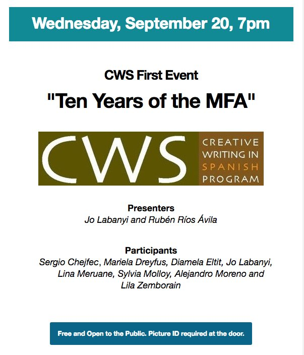#Today 7p.m., the Creative Writing Program in #Spanish celebrates #10years of its MFA! All invited!<br>http://pic.twitter.com/ATtIvimydC