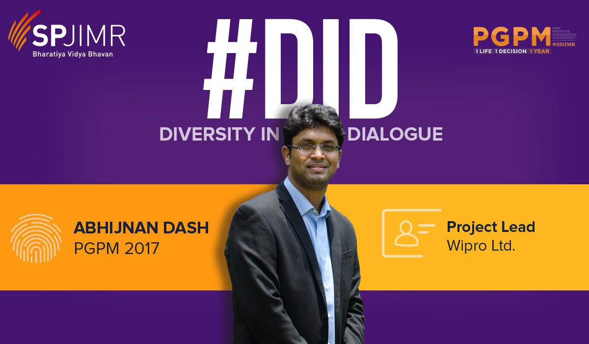 #PGPMatSPJIMR continues it&#39;s Diversity in Dialogue #DiD series with Abhijnan. Check what he has to say  https://www. facebook.com/pgpmspjimr/pos ts/1073788196057214 &nbsp; …  .@Wipro<br>http://pic.twitter.com/OPZ2rXuHm7
