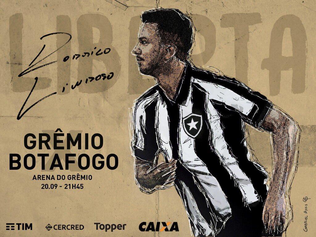 Chega logo, 21h45! Hoje é dia de BOTAFOGO! #ConmebolLibertadoresBridgestone #PortoAlegreÉFogo  (Arte: Gabriel Assis / Botafogo)