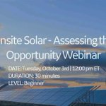 Evaluate the opportunity and work to secure long-term energy savings – Register now for the Onsite Solar Webinar: https://t.co/164rdCdZNJ