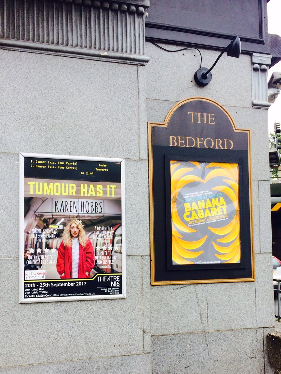 Don&#39;t miss brilliant @karen_hobbs #comedy this wk @TheatreN16 @TheBedfordPub All proceeds to #gynae #cancer #charity @eveappeal #TumourHasIt<br>http://pic.twitter.com/kTb4sCUDdT