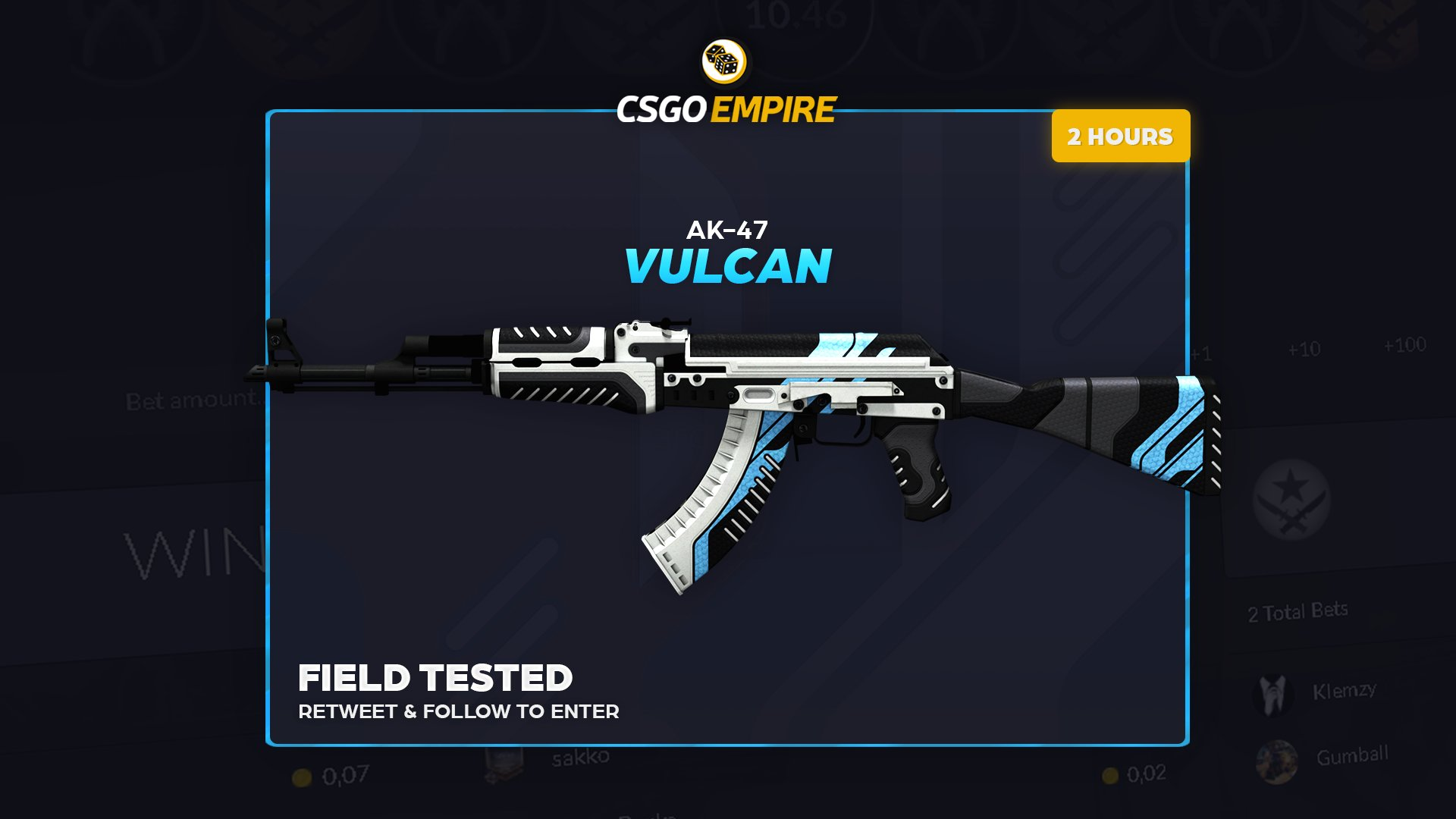 AK-47 | Vulcan (FT) Giveaway! ��  To enter: -RT -Follow  The winner will be picked in 2 hours! Good luck �� https://t.co/hpdR2iibrV
