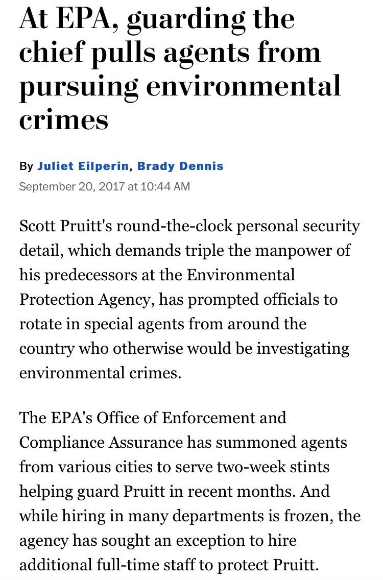 Trump's deregulating EPA chief, Pruitt, is pulling agents from environmental investigations to be his own security: https://t.co/WaTcjf3gnL