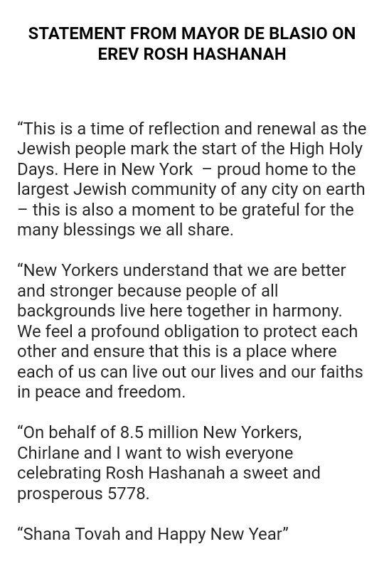 Nycmayor And Nycfirstlady Wishing The Jewish Community A Shana Tovah And Happy New Year Https T Co 1royg1qios