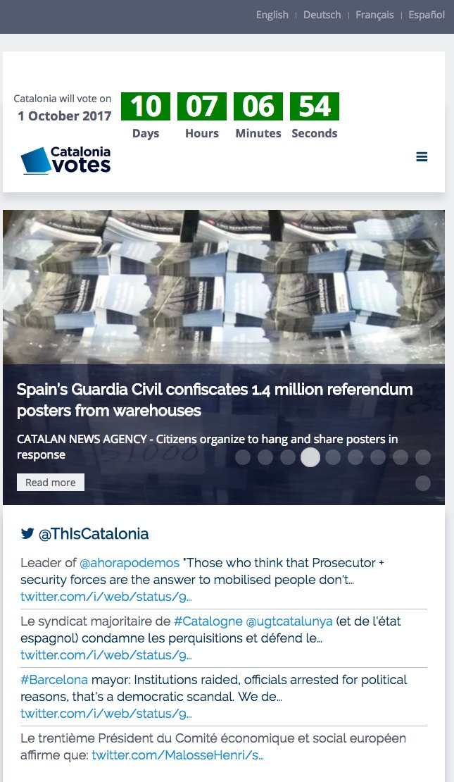 Useful news aggregator (English, German, French, Spanish) for Catalan referendum by @Diplocat (tilts pro-vote): https://t.co/EBS6XSfWzT