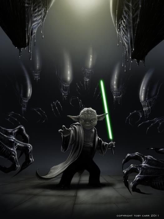 There is no try, these Aliens are going to have their arses kicked indeed! #StarWars #horror<br>http://pic.twitter.com/4WbOiyznNl