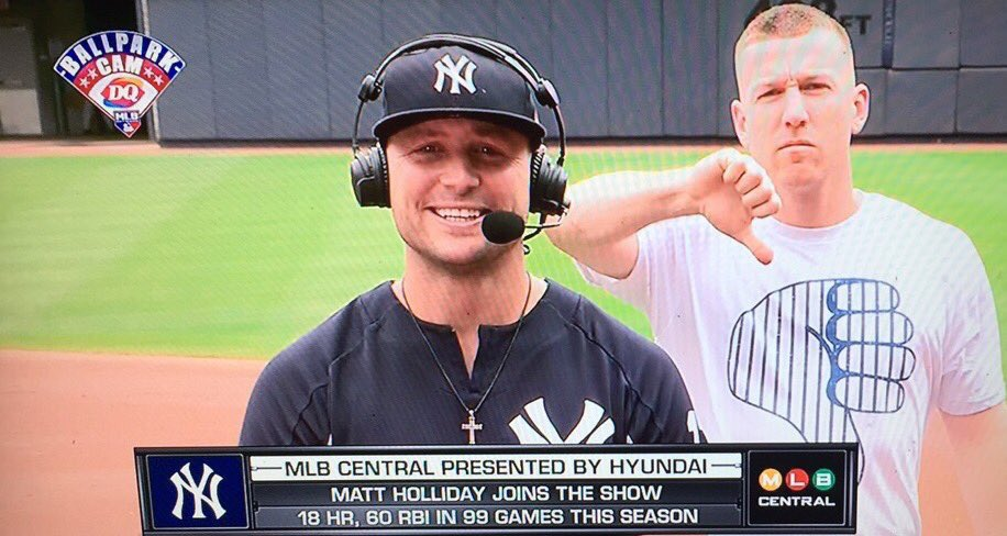 """Todd Frazier Shows Off His """"Thumbs Down"""" Shirt During Matt Holliday  Interview (Video)  Yanks  Yankees  MLB ... e27ea176f7e"""