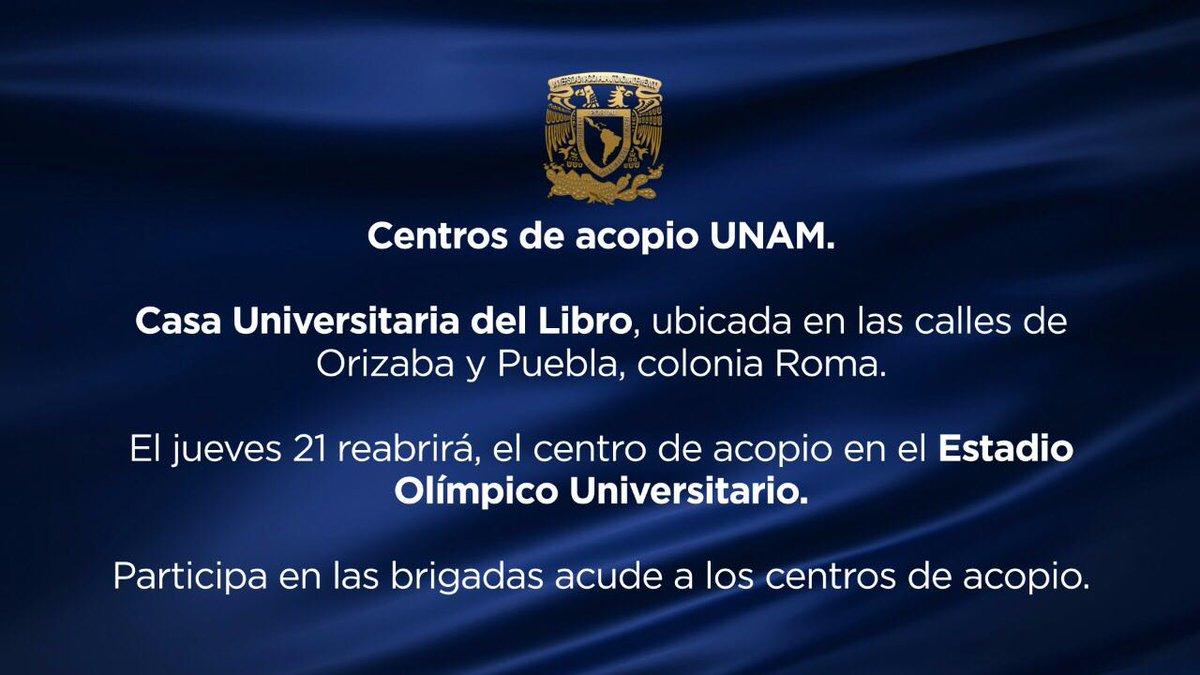 Si quieres ayudar, la UNAM cuenta con centros de acopio y formación de brigadas de rescate https://t.co/SDJXv8HJAE