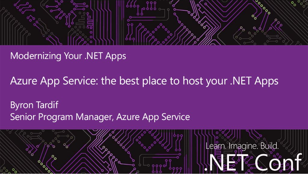Coming up at #dotNETConf on the Modernizing Your .NET Apps track @Ch9 - #Azure App Service: the best place to host .NET Apps. Watch now. <br>http://pic.twitter.com/mqHHME81tj