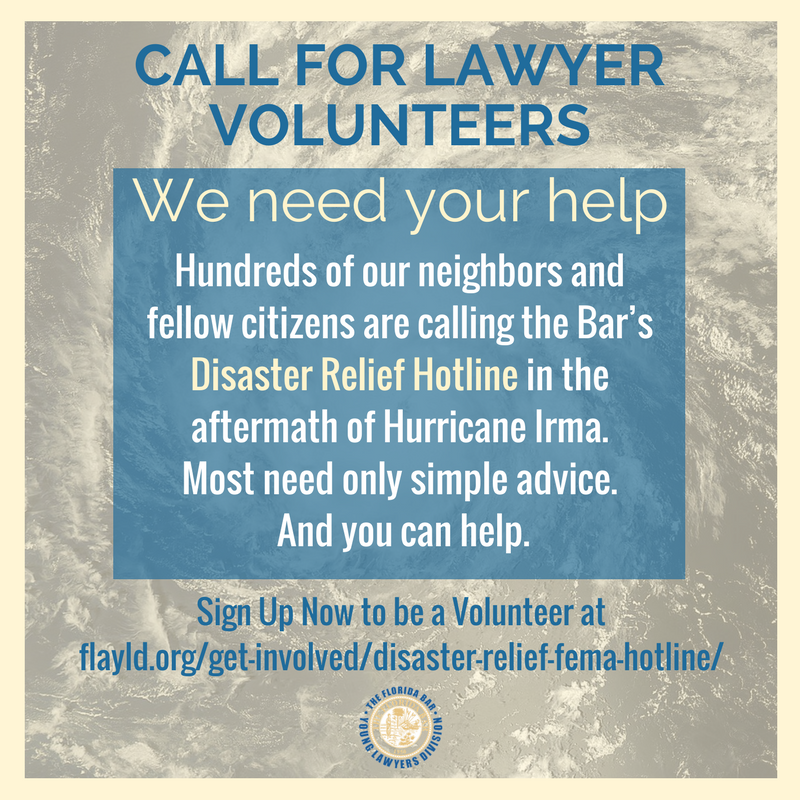 ATTENTION: FLBar Young Lawyers Division Makes Call For Volunteers For @FEMA Disaster Relief Hotline.   https:// flayld.org/get-involved/d isaster-relief-fema-hotline/ &nbsp; …  #IrmaRecovery <br>http://pic.twitter.com/9aSXsh9hd6