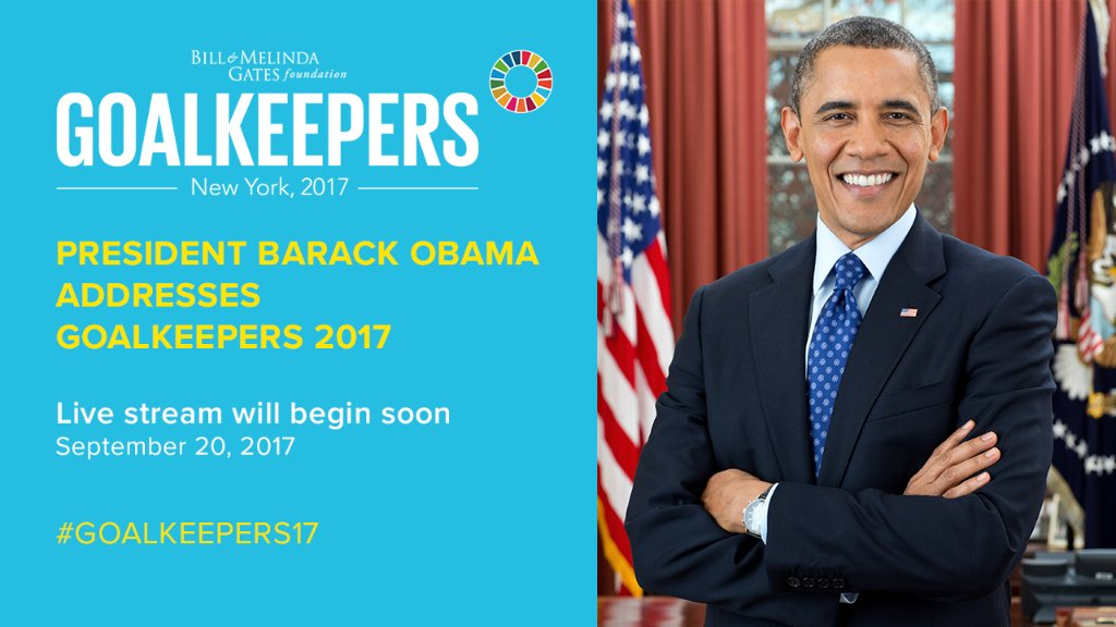 To cap off an incredible day, we're welcoming one more Goalkeeper to the stage: @BarackObama. #Goalkeepers17  http:// m-gat.es/2himpuY  &nbsp;  <br>http://pic.twitter.com/jvDIu0mAFO