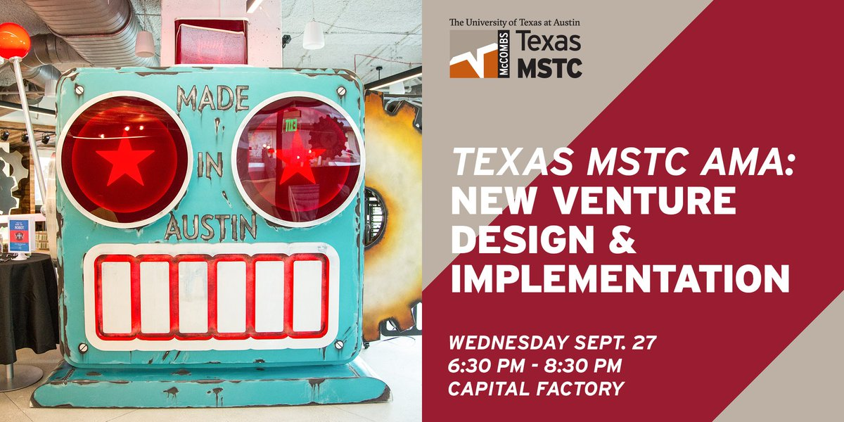 Join us @CapitalFactory for an AMA w/ #TexasMSTC faculty &amp; learn #implementation skills for launching new ventures  http:// bit.ly/2wK6J9O  &nbsp;  <br>http://pic.twitter.com/q76d0PPtFQ
