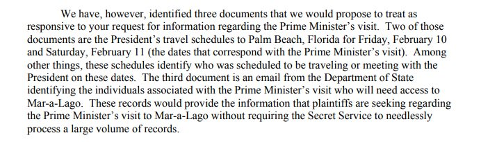 Here, DOJ identifies 3 docs for Mar-a-Lago visitor records in a memo. Days later, they only forked over 1. CREW wants first 2: