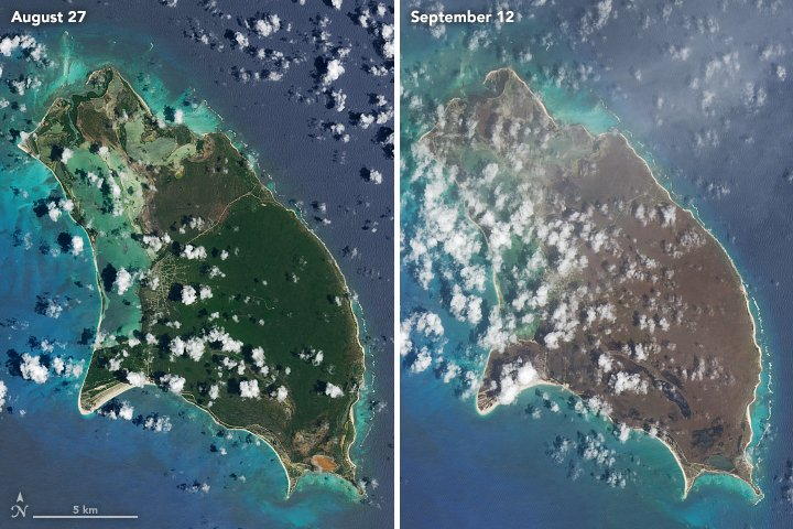 Images of Caribbean islands before Hurricane Irma show lush, green vegetation & after a dark shade of brown. Details https://t.co/v5NDMTLRBO