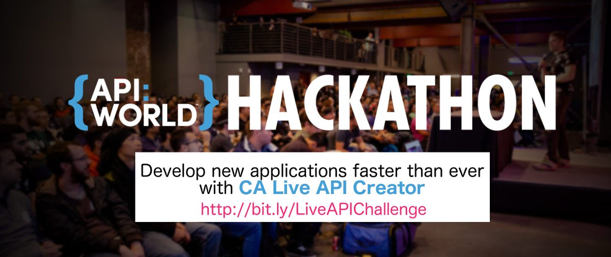 Are you going to @APIWorld&#39;s #hackathon? Accept our challenge &amp; develop new #applications with CA Live #API Creator  http:// bit.ly/LiveAPIChallen ge &nbsp; … <br>http://pic.twitter.com/kKlWgokvwc