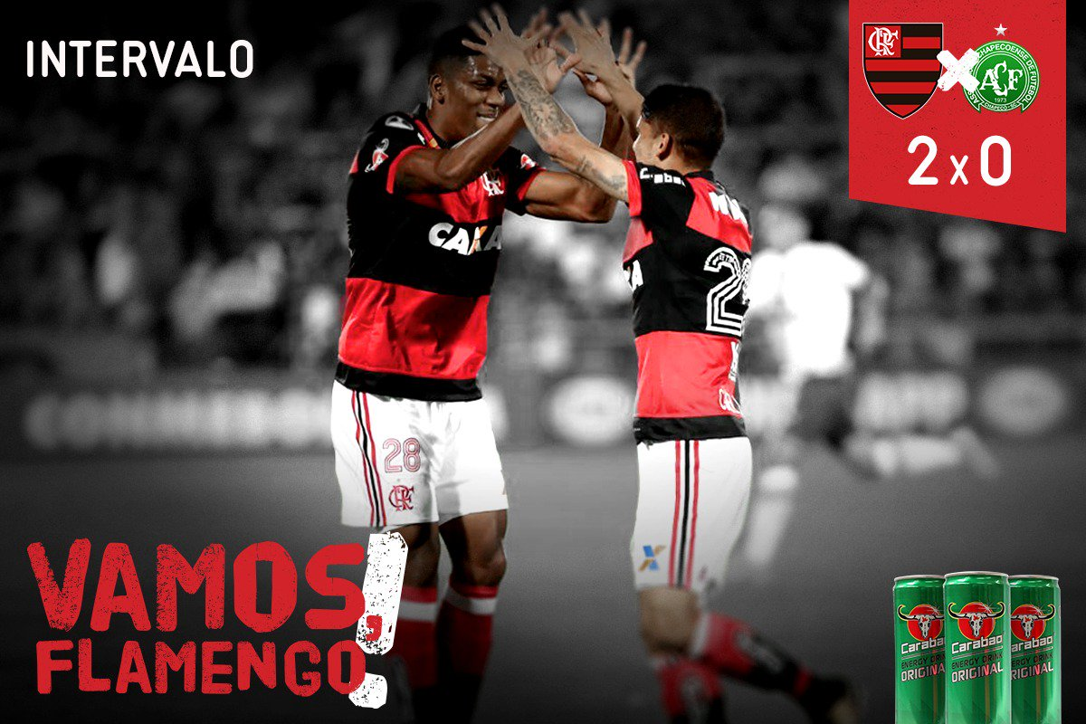 FIM DO PRIMEIRO TEMPO! Com gols de Cuéllar e Arão, o Flamengo vai vencendo a Chape por 2 a 0 #FLAxCHA