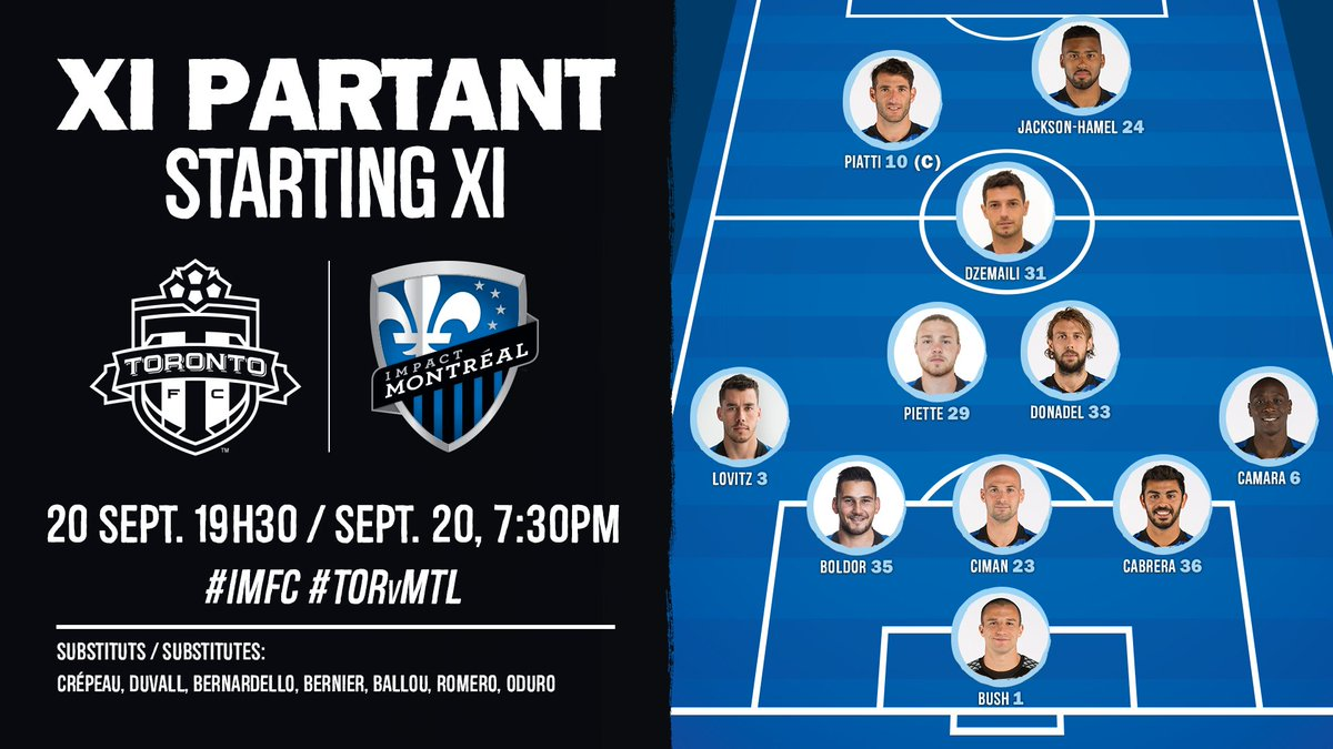 Voici VOTRE XI partant contre @torontofc! Here's YOUR starting XI agai...