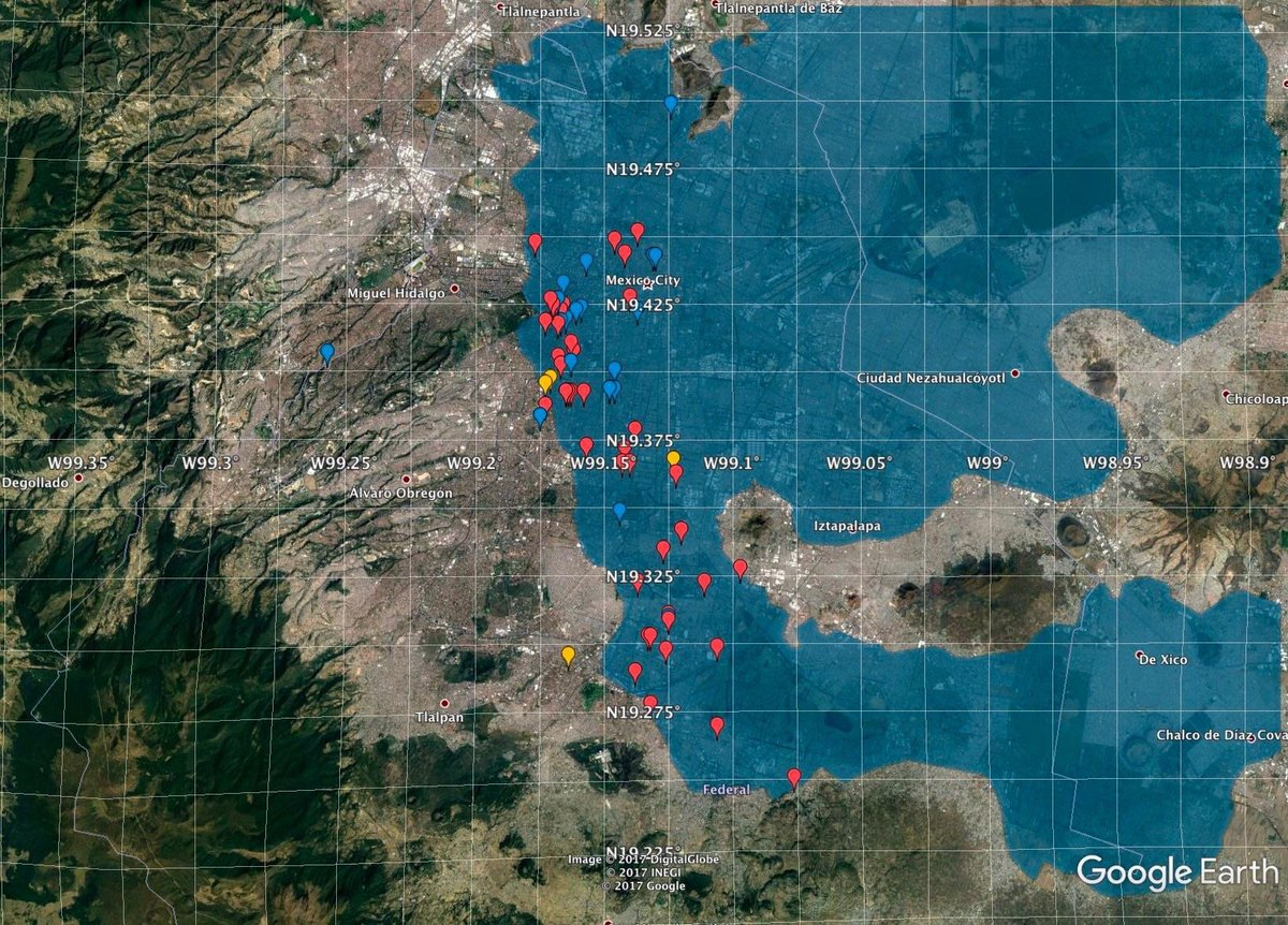 Onlmaps on twitter the outline of mexico citys ancient lake of onlmaps on twitter the outline of mexico citys ancient lake of texcoco and the location of collapsed buildings after yesterdays earthquake map maps gumiabroncs Image collections
