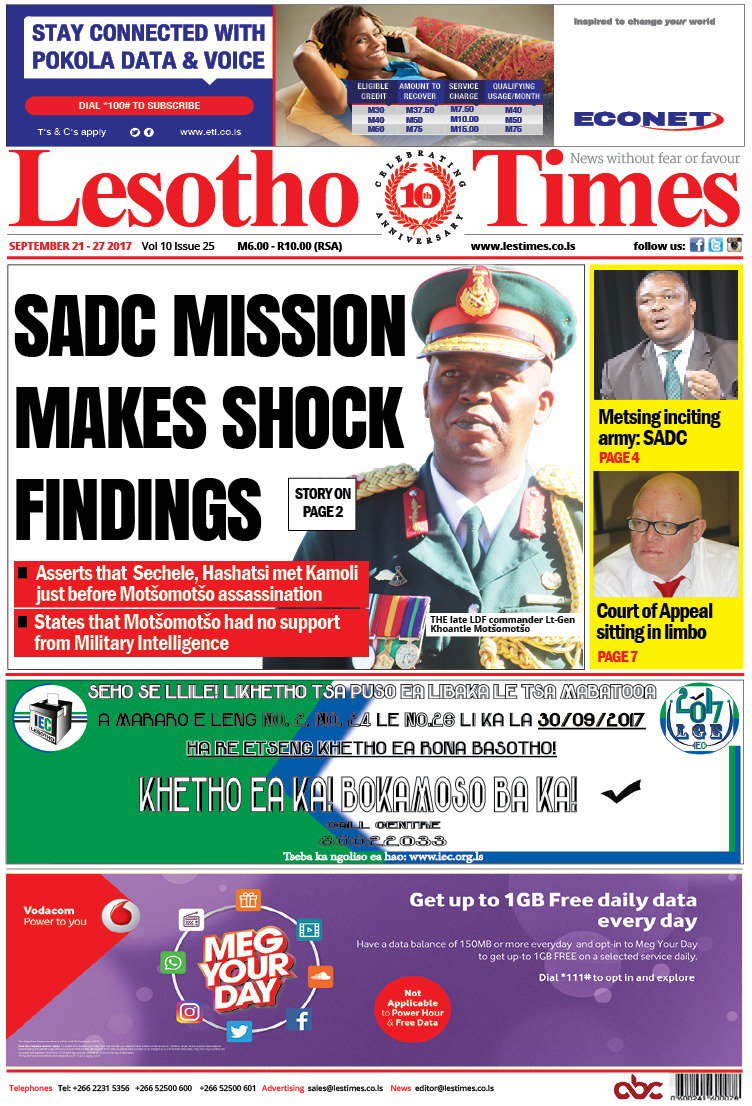Today&#39;s front page #lestimes #lesotho <br>http://pic.twitter.com/rMmnzVC0lc