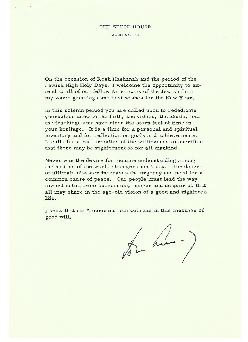 #ShanahTovah! JFK sent this message to 'all our fellow Americans of th...