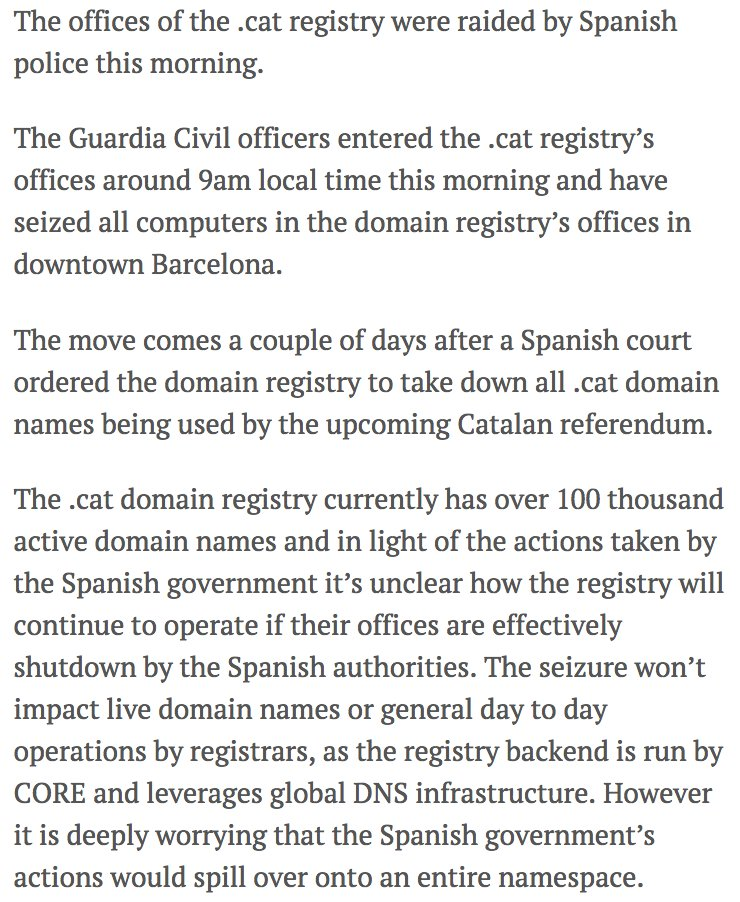 Spain's attack on Catalonia has now spilled over to 100,000 domain names as it raids national domain registrar https://t.co/E0bSatSJK2