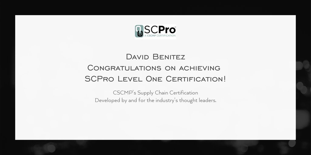 Cscmp On Twitter Congratulations David Benitez On Achieving Scpro